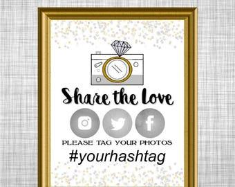 Printable & Editable Wedding Hashtag Sign / Confetti Theme / Twitter, Instagram, Facebook / Printable Sign Bridal Shower / DIY Wedding CX78