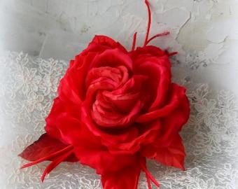 Silk flowers, Rose brooch, Flower for bride, Silk Flower Corsage, Silk brooch, wedding, rad rose, Rose, Textile brooch