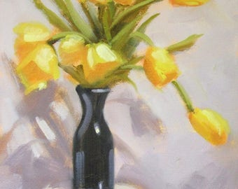 Yellow Tulips in Ebony...Original Oil Painting by Maresa Lilley, SND