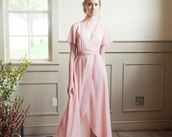 Custom Colour Bridesmaid Wrap Dress With Flutter Sleeves and Side Pockets - Bridesmaid Dress - Bridal Party Dresses