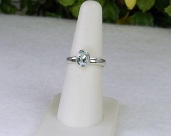 Aquamarine Ring, Size 6, Ice Blue, Sterling Silver, March Birthstone, Natural Aquamarine, Blue Aquamarine