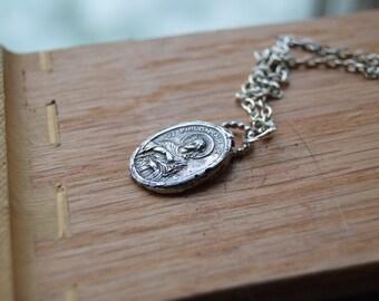 fertility talisman - sterling silver cast medal necklace