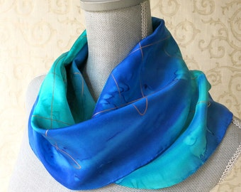 Silk Scarf Hand-Dyed in Shades of Blue with Gold Accent, Ready to Ship and Gift Packaged for Mother's Day