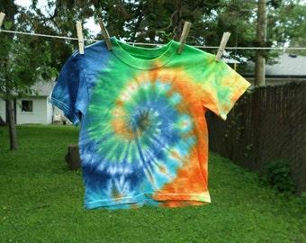 Kids Swirl Tye Dye Tshirt 4T, Green Blue and Orange Cotton Hand Dyed Toddler Tshirt, Tie Dye Swirl Top 4T