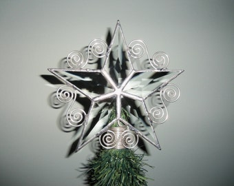 Tiny Tree Topper, Table Top Tree Topper, Simple Beveled Glass Star