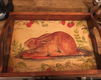 Vintage wooden breakfast tray with folk style painting of rabbit