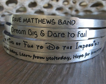 Personalized bangle bracelet. One sterling silver custom engraved stacking jewelry.  Quote, message, names, dates.. you choose font.