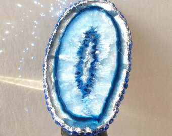 Blue Agate Ring, Boho Hippie Ring, Luxury Jewelry, Blue Stone Ring, Blue Gemstone, Raw Crystal Jewelry, Statement Ring,