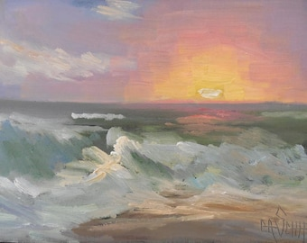 Seascape Giclee Print, Seascape with Sunset, Print on Canvas, Choose Your Size, Free Proof, Free Shipping