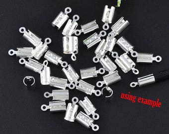 50 Silver Plated Crimp Cord Ends w/Loop 7.5 x 5.2mm (B233a)
