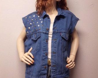 Vintage LEVIS Blue  Hand  Dyed Denim Vest -Studded  ---Size Mens Medium----Womens Large