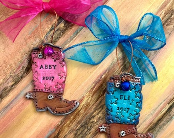 Keepsake Cowboy / Cowgirl / Western / Boot Personalized Handmade Ornament