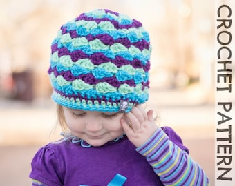 CROCHET HAT PATTERN - Kids Mogul Mountain Beanie