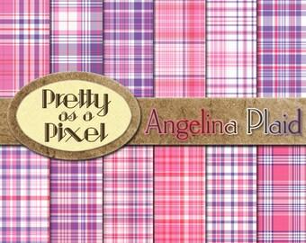 Digital Printable Scrapbook Paper - Angelina Plaid - 12 x 12 - Set of 12 - INSTANT DOWNLOAD