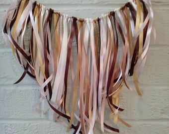 Lace ribbon bunting,garland,banner,wall hanging,wall art,Photo backdrop,party decoration,shabby chic,Bohemian,rustic,cake smash,brown,cream