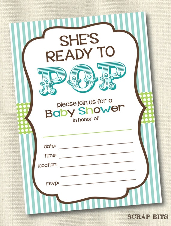 Printable Shes Ready To Pop Baby Shower Invitations Blue