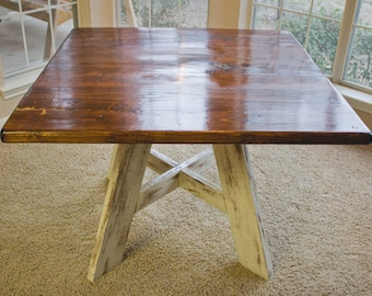 """34"""" x 34"""" Solid Wood, Square Kitchen/Dining Table with Rustic Finish"""