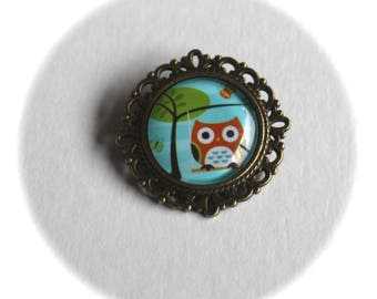 KIT DIY round brooch cabochon OWL on a swing and tree of life glass and metal bronze