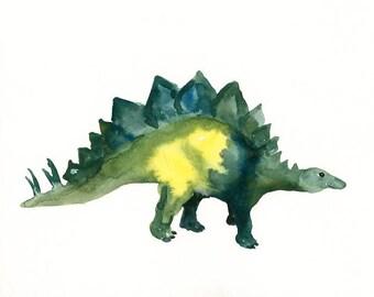 STEGOSAURUS-10x8inch print-Art Print-animal Watercolor Print-nursery decor-children art-home decor-dinosaurus art