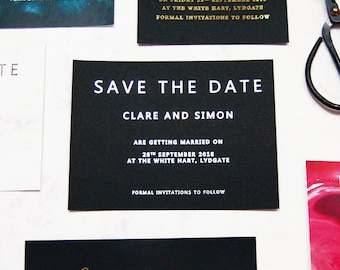 Wedding save the dates, black save the dates, black and silver save the dates, personalised save the dates, silver foil save the dates