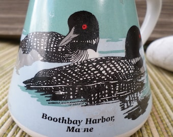 Vintage Coffee Mug Loon Boothbay Harbor Maine Travel Style