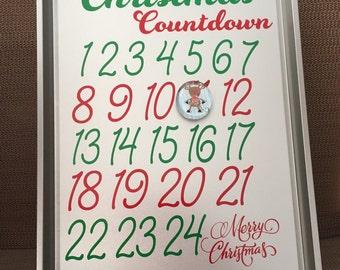 Christmas Countdown Calendar, Unique Advent Calendar, Days until Christmas, Days until Santa, Christmas Decor, Holiday