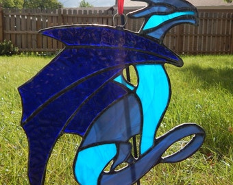 Small Iridescent Dragon Stained glass suncatcher