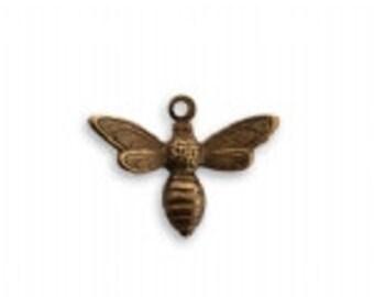 Vintaj 17x13mm Busy Bee Charm - Natural Brass - SALE