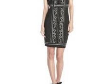 Jax Women's Solid Scuba Dress with Pearl Detail, Black, 6