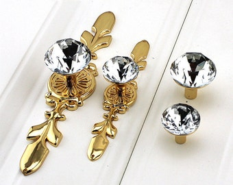 Gold Crystal Knob Glass Knobs Drawer Knobs Pull Handle Dresser Knobs Pull Handle Furniture Hardware