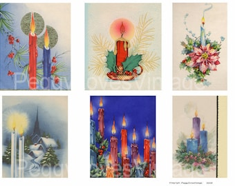 Candles 1 Digital Collage  from Vintage Christmas Greeting Cards - Instant Download