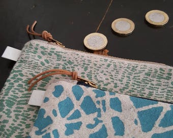 Tropic Screen printed coin pouch or purse in Seafoam by Lu Summers. Ready to ship!