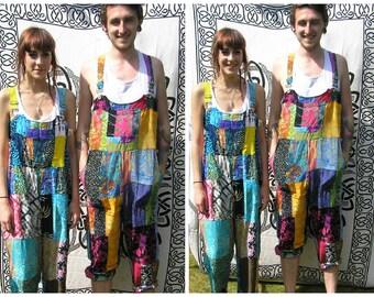 Patchwork dungarees jumpsuit overalls aztec funky festivals hippy boho, XS S/M L/XL XXL