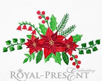 Machine Embroidery Design Red Poinsettia - 3 sizes