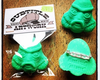 handmade Creature From The Black Lagoon Polymer clay brooch accessories vintage retro horror movie