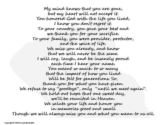 A Soldier's Remembrance Memorial Poem Digital Print Poem