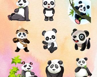 Cute pandas, vector, PNG