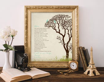 Gift for mom from daughter, moms birthday gift, moms birthday gift, gift for mother, mom verse poem print,  thank you mom art print 8 x 10