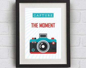 "Camera Print ""Capture the moment"" Downloadable Art Print"