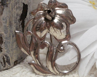 Beau Sterling Flower Brooch Vintage