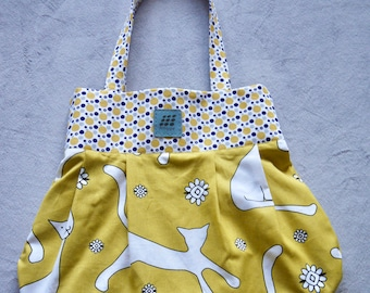 RE Collection- Canvas reversible tote bag, Yellow cat tote bag, pleated tote bag, handmade tote bag, shopping tote bag
