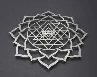 Sri Yantra Lotus Mandala Metal Wall Art Sculpture, Sacred Geometry, Circle Wall Art, Large Metal Wall Art, Sri Shakra, Yoga Wall Art, Modern