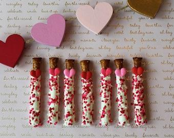 Valentine's Day Mini Pretzels - Valentines Day Party Dipped Pretzels Chocolate Pretzels Class Party Galentines Day
