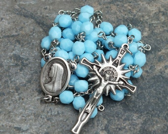 Czech Glass Rosary in Solid/Opaque Turquoise, 5 Decade Rosary, Catholic Rosary, December Rosary, Birthstone Rosary