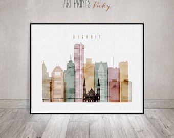 Detroit art print, watercolor poster, Detroit wall art, Detroit skyline, cities poster, Michigan, travel decor, home decor, ArtPrintsVicky.