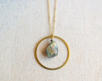 Gold Ring Necklace with Labradorite