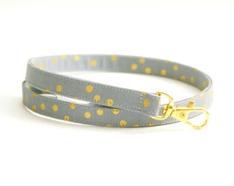 Gray and Metallic Gold Dots Skinny Lanyard - Thin Lanyard - 1/2 Inch Key Lanyard - Cute Long Key Strap - Teacher Lanyard - 15.5-19.5 Inches