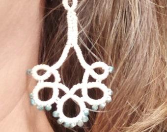 chandelier earrings, tatted earrings, lace earrings, wedding earrings