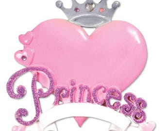 Princess Heart Ornament  Princess Ornament  Princess Crown Ornament  Personalized Christmas Ornament