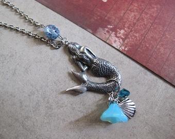 Vintage Inspired. Mermaid Necklace. Blue Czech Glass Flower, seashell charm. Fairytale whimsical mermaid feminine Necklace